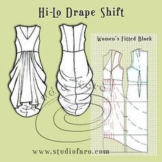 well-suited: Pattern Puzzle - Hi-Lo Drape Shift Sewing Patterns Free, Vintage Patterns, Sewing Tutorials, Clothing Patterns, Sewing Projects, Sewing Hacks, Vintage Sewing, Techniques Couture, Sewing Techniques