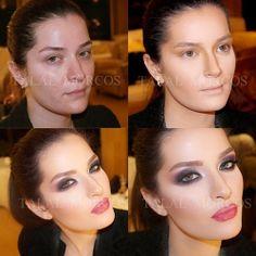 dark hair girl makeup transformation contouring highlighting smokey eyes red lips talalmorcos