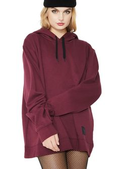 Cheap Monday Pullover Hoodie will keep ya comfy N' cool. This burgundy pullover has a drawstring hood and a brand logo on the bottom.