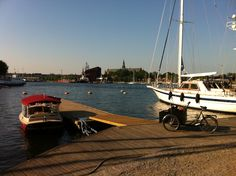 #cargobike and electric yacht in #Stockholm summer 2011, opposite wasa-museum