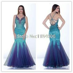 2014 New trumpet V-Neck sleeveless crystal organza long Prom Dress DY-048