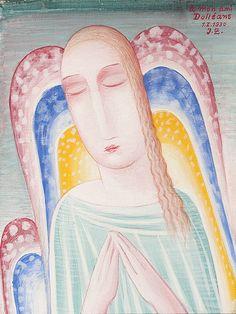 Výsledek obrázku pro jan zrzavý anděl Roman Catholic, Disney Characters, Fictional Characters, Aurora Sleeping Beauty, Disney Princess, Illustration, Artist, Painting, Catholic