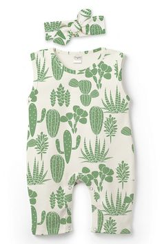 Little ones will be ready for adventure in this super comfy romper flourished with a cactus print. #ad
