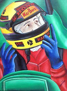 The racing driver by Jg Wilson  oil on cardboard  www.jgwilsonart.com