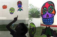 Halloween suncatchers made from plastic packaging