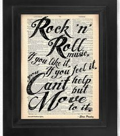 Elvis quote  Rock n Roll on 100 yr old Antique by HelloUwall, $7.99