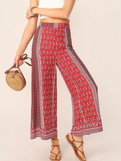 Shein Cut-and-Sew Ditsy Floral Wide Leg Tribal Pants Wide Leg Palazzo Pants, Wide Leg Pants, Tribal Pants, Flare Leg Pants, Type Of Pants, Pants For Women, Clothes For Women, Floral Pants, Ditsy Floral