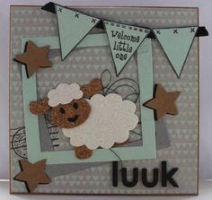 Gemaakt door Joke # Babykaart met schaapje #11   Luuk geboren