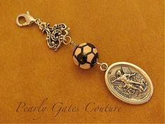 BOY FIRST COMMUNION-Sports Soccer St. Micheal Medal Rosary Marker-Zipper Pull-Saint Medals-Boy Confirmation-Religious Gifts-Catholic Child