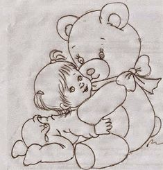 Disney Drawings Sketches, Art Drawings For Kids, Art Drawings Sketches Simple, Cartoon Drawings, Cute Drawings, Baby Embroidery, Embroidery Patterns, Quilt Patterns, Painting Patterns