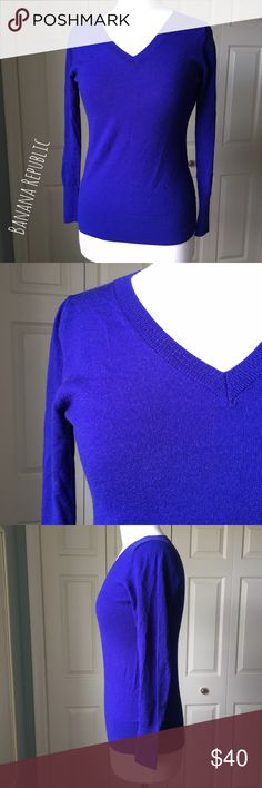 """Banana Republic Cobalt Blue Merino Wool Sweater Classy cobalt blue wool sweater by Banana Republic. ▪️15"""" shoulder to shoulder ▪️25"""" long ▪️Fits like a Small ▪️In great condition  🚭 Smoke-free home 📬 Ships by next day 💲 Price negotiable  🔁 Open to trades  💟Happy Poshing!💟 Banana Republic Sweaters V-Necks"""