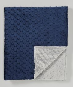 My Grandson Loves This Minky Stuff!! Lolly Gags 28'' x 32'' Silver & Navy Minky Dot Stroller Blanket