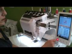 Changing thread colors on a design using the Brother 10 needle PR1000e - YouTube