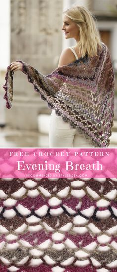 Evening Breath Crochet Shawl Crochet → Shawls Wrap | free size | Written | US Terms Stunning Evening Shawls Free Crochet Pattern Level: beginner hook: 4.0 mm (G) yarn: Garnstudio Delight Author: by DROPS Spectacular and gorgeous, easy to do crochet Breath from Garnstudio looks amazing. This project is easy to do and works up very quickly. #crochetfreepatternsforlady #crochetfreepatternforshawls #crochetfreepatternfortunic #crochetshawl