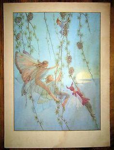 #art Margaret W Tarrant Vintage Print Elfin Swings Lovely Charming Faeries RARE please retweet