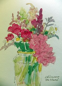 Flowers in vase watercolor - example only - no instructions or info (: