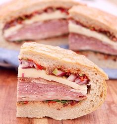 Antipasto Picnic Sandwich: also known as #lunchgoals#sandwiches #easyrecipes Picnic Sandwiches, Antipasto, Original Recipe, Peanut Butter, Lunch, Posts, Friends, Easy, Recipes