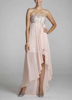 Light pink high low dress with silver sequence