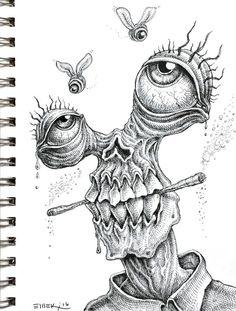 Doodle by Emek drawings trippy Weird Drawings, Trippy Drawings, Psychedelic Drawings, Dark Art Drawings, Pencil Art Drawings, Art Drawings Sketches, Doodle Drawings, Tattoo Drawings, Tattoos