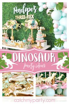 Don't miss this incredible dinosaur birthday party fora little girl. The cookies. Third Birthday Girl, Dinosaur First Birthday, Girl Birthday Themes, Fourth Birthday, 3rd Birthday Parties, Birthday Party Decorations, Party Favors, Dinosaur Party Decorations, Birthday Ideas