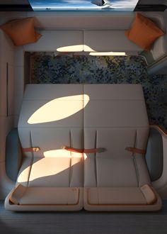 """Seymourpowell unveils first-class cabin concept to turn aeroplane into """"boutique hotel of the skies"""" 