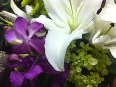 One of my favorite color palettes right now, purples, bright green and white.