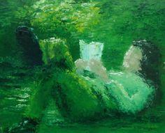 """""""INNER"""" Olieverf op doek 100x80 """"in het gras - in de zon - in een boek, inner kan bijna niet"""""""