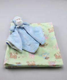 Blankets & Beyond 2pk Green Receiving & Blue Monkey Security Blanket Lovey NuNu | eBay