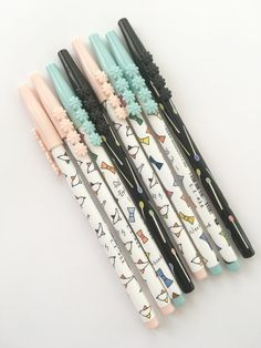 Set of 3 Floral Cap Slim 0.35 Fine Tip Pens Black Ink