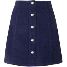 TopShop Cord Popper a-Line Skirt (€39) ❤ liked on Polyvore featuring skirts, bottoms, topshop, navy blue, navy skirt, navy blue skirt, cotton mini skirt, cotton skirt and blue skirt