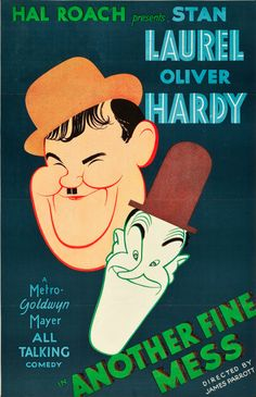 Movie poster by Al Hirschfeld, 1930, 'Another Fine Mess', Laurel and Hardy, MGM. (US)