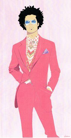 Menswear illustration -gouache. L O'Neal