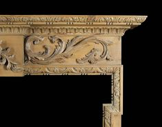 Antique Pine Wood Georgian carved Neo Classical manner Fireplace Mantel