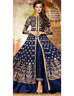 Lovely Blue And Beige Georgette Designer Full Length Anarkali Suit With Chiffon Dupatta.