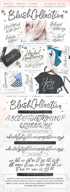 Blush Collective - 4 Fonts + Extras! by Pink Coffie on @creativemarket   Say hello to Blush Collective, a fashionable & casual brush script font with loads of texture, details and character   #font #brush #script #fashion #marker #casual *affiliate