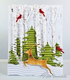KC Memory Box Leaping Deer 5 right - Likee the corrugate trees. Homemade Christmas Cards, Homemade Cards, Christmas Deer, Handmade Christmas, Xmas Cards, Holiday Cards, Memory Box Cards, Illustration Noel, Winter Cards