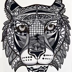 The #tiger #zia finalized :heart_eyes: #outline filled with #tanglepattern #download the outline on my website for your own zentangle inspired art :relaxed:✍