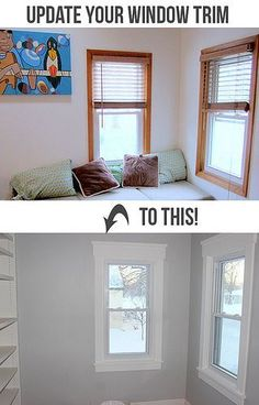 How to Install Craftsman Style Window Trim - Teal and Lime. Update old wood window trim for a clean updated look. Home Renovation, Home Remodeling, Ideas Hogar, Home Upgrades, Home Repairs, Design Furniture, Garden Furniture, Home And Deco, Diy Home Improvement