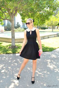 love this black and white dress with the embellished collar detail with Mary Janes{so chic}