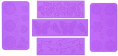 5pc Cake Decorating Molds- Premium Silicone Decoration Molds for Sugarcraft, Gumpaste, Resin Mold, Lace Embossing Impression DIY Cake Fondant Decorating Mold-(set of 5)- Purple ** Read more at the image link.