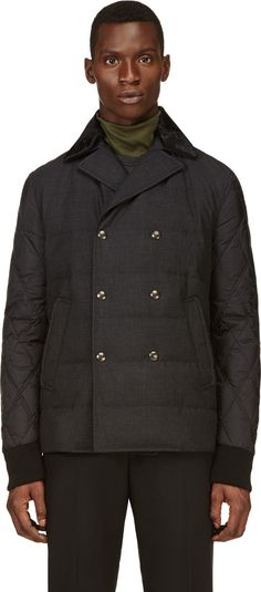 Moncler Gamme Bleu: Black Wool & Nylon Quilted Peacoat | SSENSE:: Transitional quilted jacket