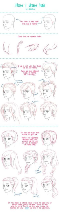How to Draw Hair tutorial by =ribkaDory on deviantART: by drawing the ends and hairs at hairline close together you can create shading and a sense of form.: tutorial How I Draw Hair by ribkaDory on DeviantArt Drawing Techniques, Drawing Tips, Drawing Reference, Drawing Sketches, Cool Drawings, Painting & Drawing, Drawing Faces, Sketching, Drawing Ideas