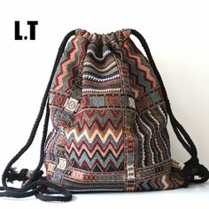 Backpacks 2017 Women Vintage Backpack Female Gypsy Bohemian Boho Chic Aztec Folk Tribal Ethnic Fabric Brown String Drawstring Backpack Bag * Clicking on the VISIT button will lead you to find similar fitness product Boho Chic, Hippie Chic, Mode Hippie, Bohemian Gypsy, Hippie Look, Hippie Style, Bohemian Style, Tribal Style, Gypsy Style