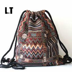 2017女性のヴィンテージバックパック女性ジプシーボヘミアン自由奔放に生きるシックなアステカ民俗部族エスニック生地ブラウン文字列巾着バックパックバッグ