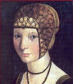 Portrait of Anne d'Alençon, Marquise de Montferrat (1492-1562) daughter of René Duc d'Alençon from the House of Valois-Alençon and Marguerite de Vaudemont by Macrino d'Alba . Sacro Monte di Crea, Monferrato, Italy