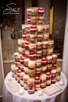 Interesting way to do a cake - this was from Bees Knees Bakery This would be cute for a wedding or special occasion too. Wedding Cake Flavors, Wedding Desserts, Wedding Cupcakes, Mini Desserts, Mini Cakes, Cupcake Cakes, Cake Tower, Naked Cakes, Cake Packaging