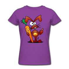 Rabbit with carrot on a T-Shirt. #Spreadshirt #Cardvibes #Tekenaartje