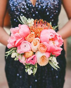 pink and peach bridal bouquet | onelove photography | Blog.theknot.com
