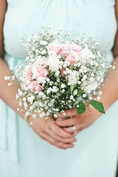 Pink + white bridesmaid bouquet idea - baby's breath and pink roses {Swanky Fine Art Weddings}