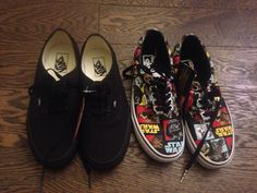 Newest addition to my van collection: Classic all black vans and star war vans Star Wars Vans, All Black Vans, Van Shoes, Sneakers, Classic, Collection, Tennis, Derby, Slippers
